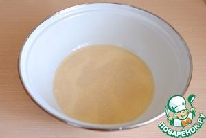 In a bowl add warm milk, sugar (1,5 tablespoons), add the yeast (10 gr. granular yeast)