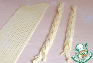 Of rolled dough to cut strips to make the braids