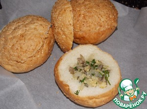 From rolls to remove the middle and put the stuffing.  Put the buns in the preheated oven for 5-7 minutes.