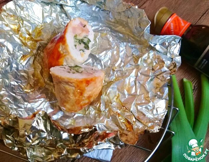 Рецепт: Свиные рулеты с ветчиной и сыром