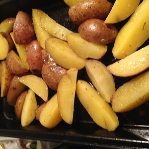 Next, put potatoes in dish, season with salt, spices and butter, stir and spread on a baking sheet, then in oven 180 deg. 20-25 min., possible, look at the potato: how will brown and become soft - you can get
