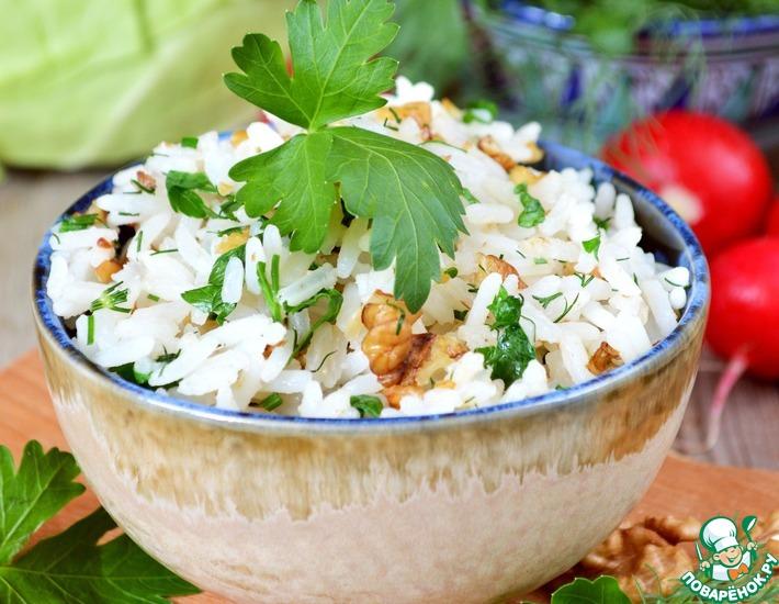 Рецепт: Рис с грецкими орехами и зеленью
