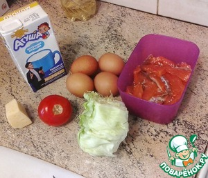 Here are our main ingredients: eggs, milk, cheese, salmon (can use other red fish), tomato and lettuce.