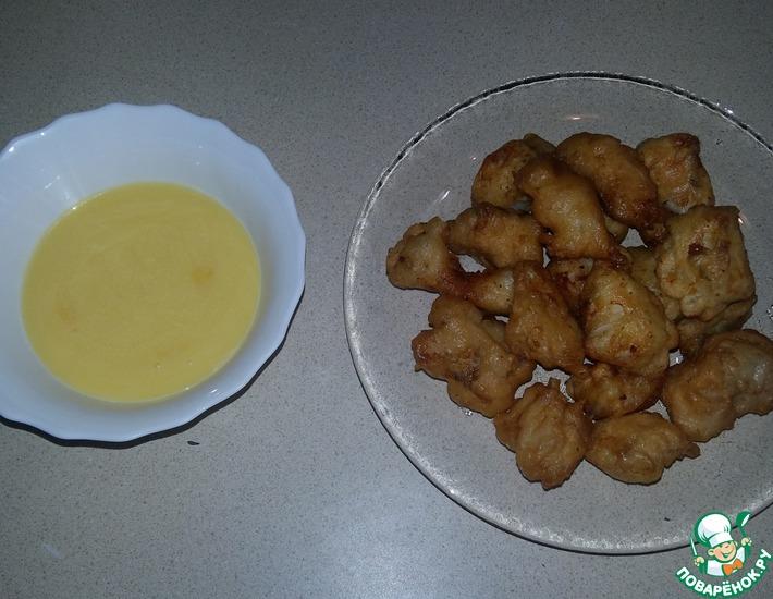 Рецепт: Судак в кляре под лимонно-яичным соусом