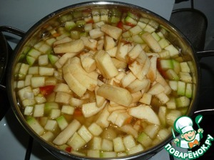 To boil can not lead after 10 minutes add rest of the onions and apples. Well, everything cook for 30-40 minutes, that would be liquid, not much happened for 40 minutes. For 5-10 minutes, add 3 tablespoons of sunflower oil and a spoonful of soy sauce in its sole discretion.