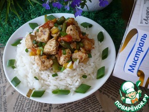 Carefully open the bag and place the rice on a plate. Put chicken and vegetables on the rice and serve.  Bon appetit!