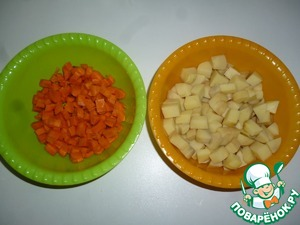 Cut the potatoes and carrot cubes