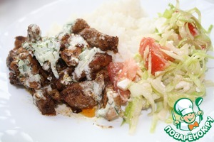 Our flavorful meat is ready. Served with any side dish, I had rice and salad.