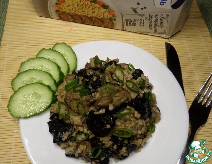Рецепт: Пшено с грибами и гусиной печенью