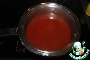The broth (I had chicken cubes) stir tomato paste, honey and lemon juice.