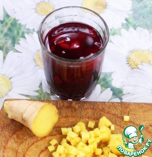 Hibiscus tea, pour 1 Cup of boiling water. Let it sit until the extract is completely cooled.  Extract hibiscus is made up of fruit acids that will easily replace Apple cider vinegar.  Ginger cut into small dice.