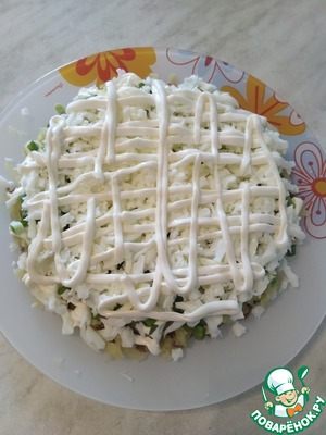 Finely chop the green onions and spread on the potatoes. Detachable whites from yolks, RUB on a grater and spread the fourth layer of mayonnaise. I have one egg left to decorate the salad.