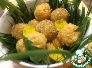 Выложить в салатник, шарики хорошо держат форму, не деформируются.