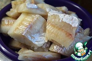 Cod cut into large pieces – so one or two was enough per serving.