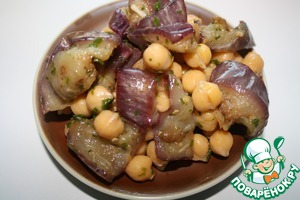 Mix the chickpea and the eggplant, chop and add the parsley.  Pour the dressing and allow to infuse for a couple of hours.