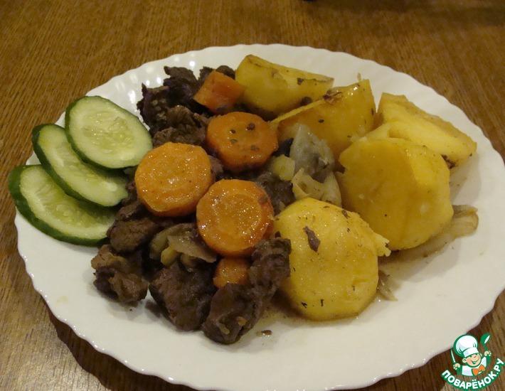 Рецепт: Жаркое из лосятины с овощами