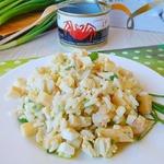Теплый салат с мясом краба