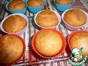 Bake cupcakes in a preheated 180C oven for 40-45 minutes (focus on your oven).  Check the readiness with a wooden stick.  Allow to cool in the form.
