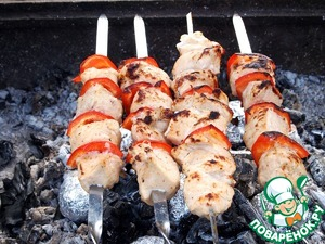 Then fry the skewers on the grill until tender.