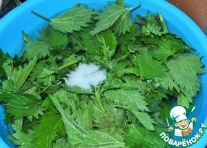 Nettle crop from the stems,  rinse and cover with cold water,  adding 1 tbsp of coarse salt, leave for 5 minutes.