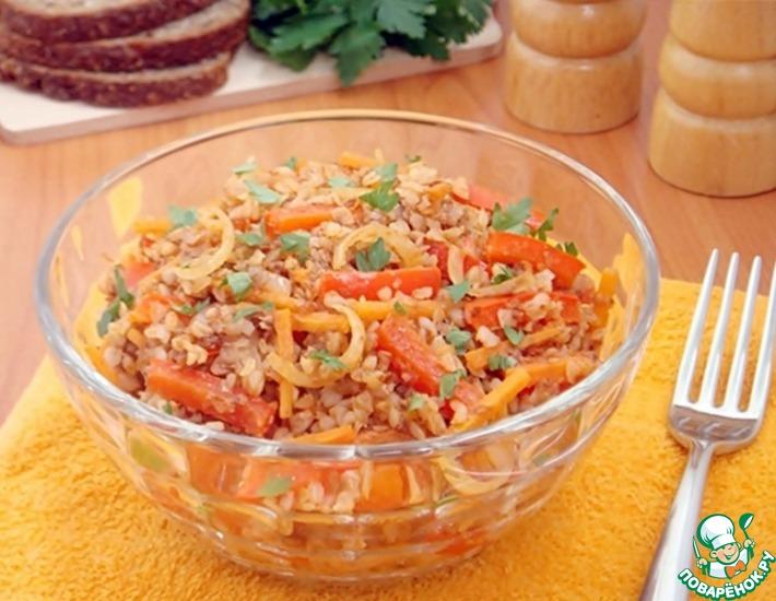 Рецепт: Пикантная гречка с овощами