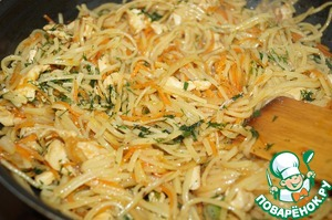Then add the noodles and fry for 3 minutes, add chopped dill, mix well and serve.