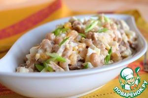 Салат выложить в салатник, посыпать зеленым луком.      Приятного аппетита!