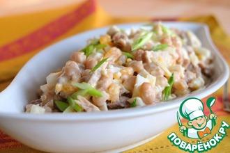 Рецепт: Салат мясной с консервированной фасолью