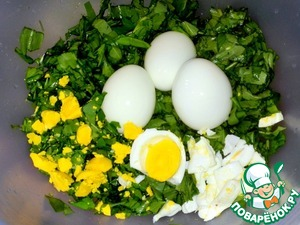 Cut it and eggs.
