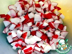 Radish washed, cut off the tails, cut cubes  and put in a deep bowl.
