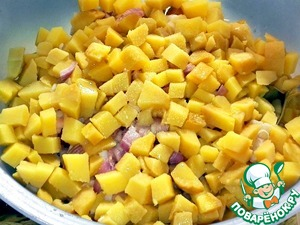 Boiled potatoes cleaned and cut  cubes. Shifted it into the bowl.