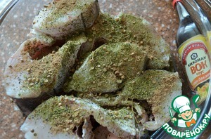 Pound dried Basil and coriander + ginger, mix well.  Season the fish with this mixture.