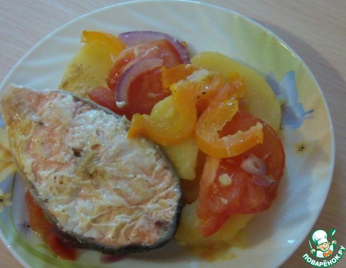 Рецепт: Лосось с овощами под апельсиновым маринадом