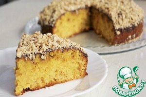 5.. Cake covered with icing and sprinkle with chopped nuts and the remaining paste (3 tbsp). The cake is ready! Bon appetit!
