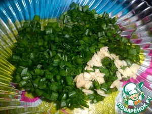 Finely chop the green onions and garlic.