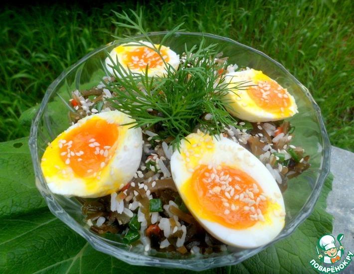 Рецепт: Салат с рисом и морской капустой
