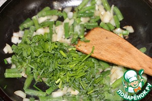 In the same pan put diced onions, cook 1-2 minutes, then diced Apple (optional), chopped green onions, green beans (or carrots, or bell pepper). Cook for another 3 minutes.