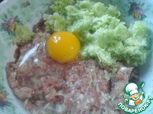 Mix the minced meat with onions and cabbage. Add salt, pepper and seasoning for chicken. Spices can take any on your taste.