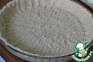 Chilled dough spread into prepared pan 26cm. Moulded bumpers. Often pierce the dough with a fork.
