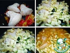 For vegetables put the chicken, add the potatoes, zucchini, and pour in the boiling water. The amount of water adjust as needed, I have a thickish soup. Boil, then simmer on low heat 20min.