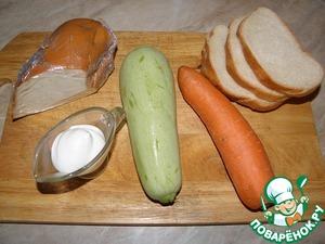 Продукты. Количество продуктов берите на ваше усмотрение, я указала приблизительно, у меня где-то на 6-7 ломтиков хлеба начинки получается: половинка моркови, половинка небольшого кабачка, сыра колбасного 150 г, 1-1,5 ст. л майонеза