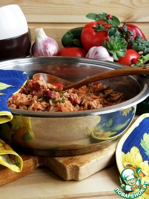 The jambalaya is quite possible to bring to the table in the same pan in which its cooked.