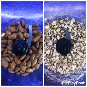 The author of the recipe used almond flakes. I replaced them with whole almonds. Just shredded it in a blender, until the consistency of flour, and such pieces as in the photo.