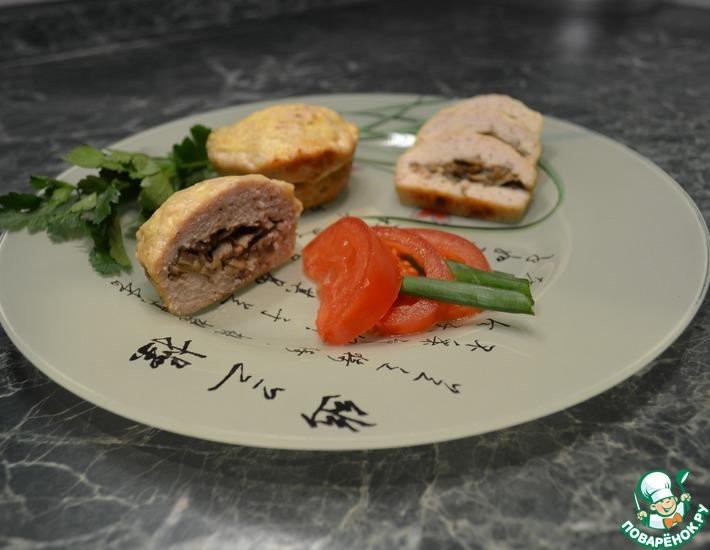 Рецепт: Кексы из мяса с грибной начинкой