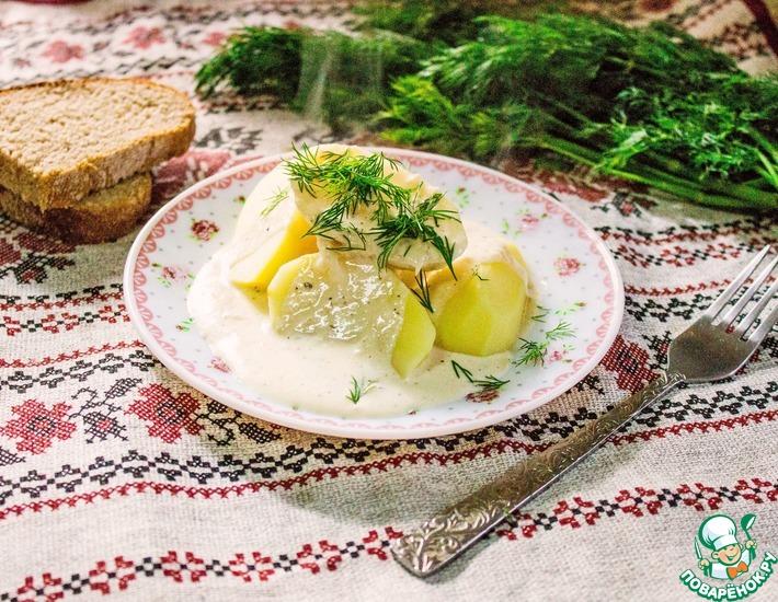 Рецепт: Картофель отварной под сливочным соусом
