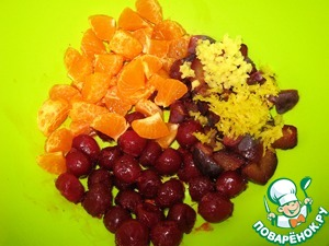 Plum and tangerine I cut up the cube. Finely chopped ginger. Lifted lemon zest on a fine grater.