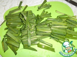 Onion cut into half rings, green with a length of 4-5 cm.