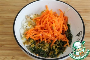 Cut onion finely dice, add the defrosted spinach and carrots in Korean (I cut the carrots, making it shorter).