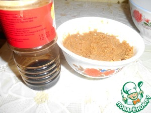 The prepared mixture to the vegetables and mix to broth. The photo of Taj (maybe darker) and soy sauce