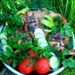 Глазированная курица, жаренная на мангале
